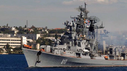 Guided missile destroyer 'Smetlivy' leaving Sevastopol harbour. (RUPTLY video still)