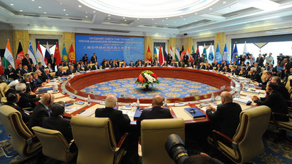 September 13, 2013. Russian President Vladimir Putin, back center, at an extended meeting of the Council of Heads of State of the Shanghai Cooperation Organisation (SCO) in Bishkek.(RIA Novosti / Michael Klimentyev)