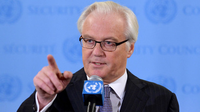 Vitaly Churkin, Russia's Ambassador to the United Nations, speaks to the media after attending a briefing in the Security Council on the weapons inspectors report on chemical weapons in Syria September 16, 2013 at UN headquarters in New York. (AFP Photo/Stan Honda)