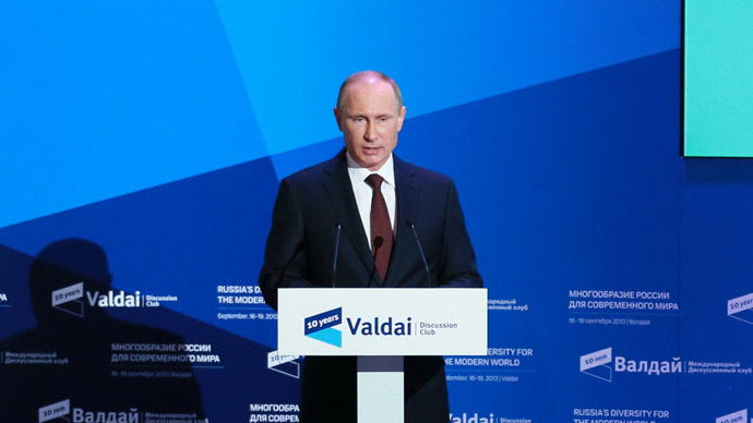 Russian President Vladimir Putin at the 10th anniversary meeting of the Valdai International Discussion Club in the Novgorod Region. (RIA Novosti/Anton Denisov)