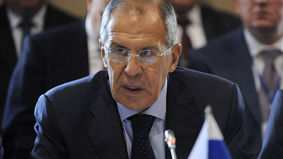 Russia's Foreign Minister Sergei Lavrov takes part in a meeting of the regional security group, the Collective Security Treaty Organization (CSTO),  in the Russian Black Sea resort of Sochi, on September 23, 2013. (AFP Photo / Mikhail Mordasov)