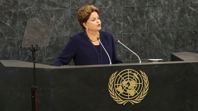The Brazilian president Dilma Rousseff speaks at the United Nations (U.N.) General Assembly on September 24, 2013 in New York City.(AFP Photo /  Spencer Platt)