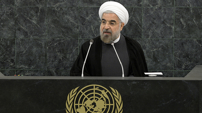 Iranian President Hassan Rouhani addresses a High-Level Meeting on Nuclear Disarmament during the 68th United Nations General Assembly at UN headquarters in New York, September 26, 2013. (AFP Photo / Mike Segar)