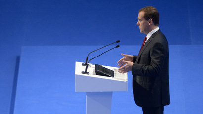 Russian Prime Minister Dmitry Medvedev speaks at Sochi International Investment Forum. (RIA Novosti/ Grigoriy Sisoev)