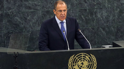 Russian Foreign Minister Sergei Lavrov speaks during the 68th United Nations General Assembly at U.N. headquarters on September 27, 2013 in New York City.(AFP Photo / Spencer Platt)