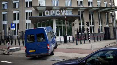 United Nations inspectors arriving in a van at the headquarters of the Organisation for the Prohibition of Chemical Weapons (OPCW), in The Hague.(AFP Photo / Guus Schoonewille)