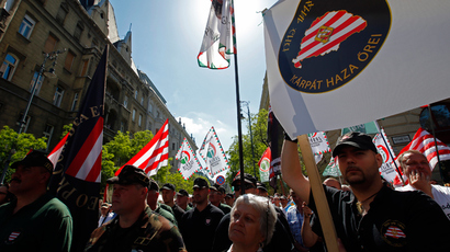 Hundreds of supporters of Hungary's far-right Jobbik party attend a rally against the World Jewish Congress Plenary Assembly in Budapest May 4, 2013 (Reuters / Laszlo Balogh)