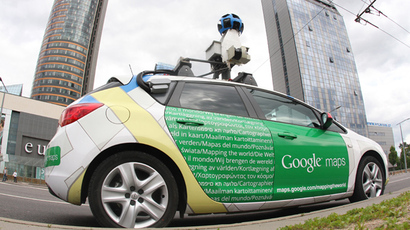 A car operating for Google Street stands in Vinius (AFP Photo)
