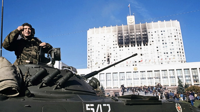 Under siege - House of Soviets in Moscow, October 4, 1993. (RIA Novosti/Vladimir Vyatkin)