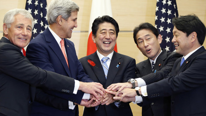 US Defense Secretary Chuck Hagel (L) US Secretary of State John Kerry (2nd L) Japanese Prime Minister Shinzo Abe (C) Japanese Foreign Minister Fumio Kishida (2nd R) and Japanese Defense Minister Itsunori Onodera pose for photos at the prime minister's official residence in Tokyo on October 3, 2013. (AFP Photo/Koji Sasahara)