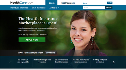 Screenshot from healthcare.gov