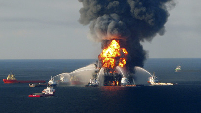 Fire boat response crews battle the blazing remnants of the offshore oil rig Deepwater Horizon, off Louisiana, in this April 21, 2010 file handout image. (Reuters/U.S. Coast Guard/Files)