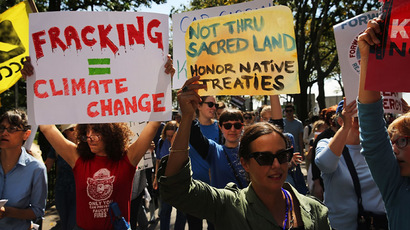 Anti-fracking and Keystone XL pipeline activists demonstrate in lower Manhattan on September 21, 2013 in New York City. (Spencer Platt/Getty Images/AFP)