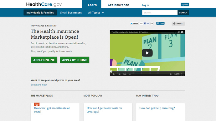Screenshot from www.healthcare.gov