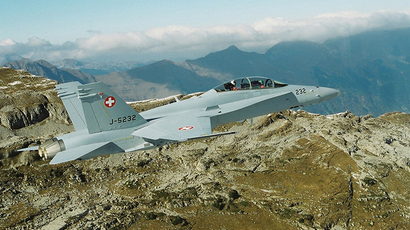 An undated handout photo shows a Swiss Air Force twin seater Boeing FA-18D Hornet fighter plane. (Reuters)