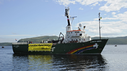 Detained Arctic Sunrise 30 being moved to St. Petersburg