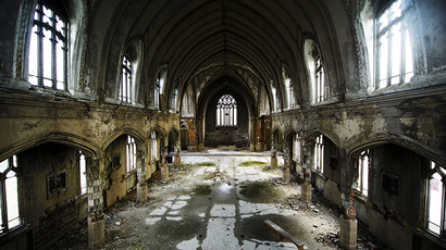 "The inside of the abandoned ""Martyrs of Uganda Catholic Church is seen in Detroit (Reuters / Mark Blinch)"