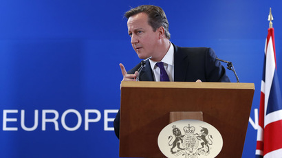 Britain's Prime Minister David Cameron addresses a news conference during a European Union leaders summit in Brussels October 25, 2013. (Reuters/Francois Lenoir)