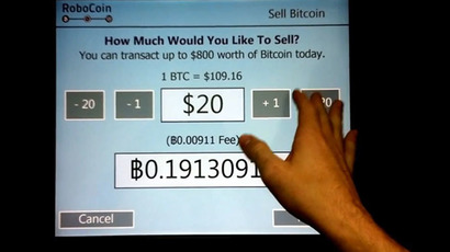 Robocoin, first real bitcoin ATM. (Still from YouTube video uploaded by Robocoin)