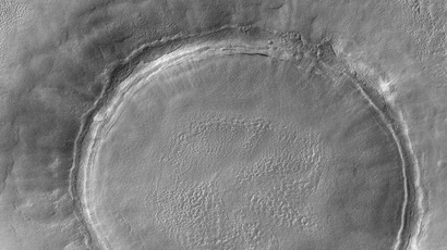 This 23 March, 2004 NASA Mars Global Surveyor (MGS) Mars Orbiter Camera (MOC) image shows a crater in Utopia Planitia on Mars. (AFP/NASA)
