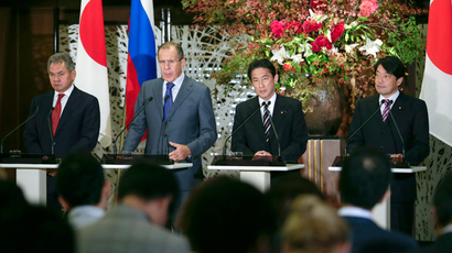 Russia's Foreign Minister Sergey Lavrov (2nd L) and Defence Minister Sergei Shoigu (L) attend a joint news conference with Japan's Foreign Minister Fumio Kishida (2nd R) and Defence Minister Itsunori Onodera (R) following their first two-plus-two foreign and defence ministers meeting at the Iikura Guesthouse of the Foreign Ministry in Tokyo on November 2, 2013 (AFP Photo / Kimmasa Mayama)