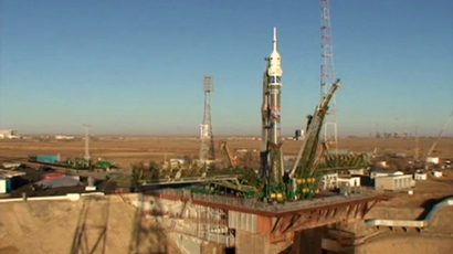 The spacecraft, which will take the Olympic flame into space, is prepared for launch (Screenshot from RTR feed)