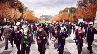 The Million Mask March is heading to the Capitol in Washington, D.C. (Image from twitter user‏@BatmanWI)