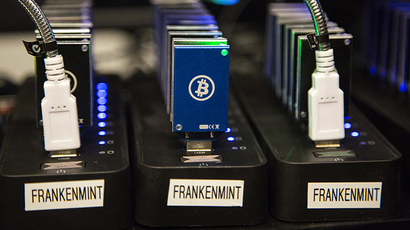 A chain of block erupters used for Bitcoin mining is pictured at the Plug and Play Tech Center in Sunnyvale, California (Reuters / Stephen Lam)