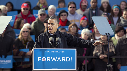 U.S. President Barack Obama speaks during a campaign rally November 5, 2012 in Madison, Wisconsin. (AFP Photo / Mark Hirsch)