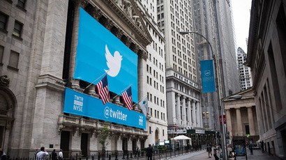 The Twitter logo is displayed on a banner outside the New York Stock Exchange (NYSE) on November 7, 2013 in New York City.  (Andrew Burton/Getty Images/AFP)