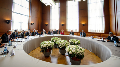 A general view taken on November 7, 2013 shows participants before the start of two days of closed-door nuclear talks in Geneva. (AFP Photo / Fabrice Coffrini)