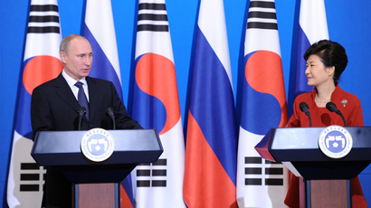 November 13, 2013. Russian President Vladimir Putin and President of South Korea Park Geun-hye at a news conference on the results of talks held at the Cheong Wa Dae Palace in Seoul (RIA Novosti /  Aleksey Nikolsky)