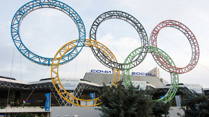 The Olympic Rings are displayed outside Adler airport, near Sochi (AFP Photo/Leon Neal)