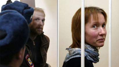 "This combo shows the pictures taken on November 18, 2013 at the court in Saint Petersburg of Denis Sinyakov (left), Russian photographer, one of the ""Arctic 30"" and Ekaterina Zaspa, the ship's doctor. (RIA Novosti / Igor Russak, AFP Photo / Igor Podgorny)"