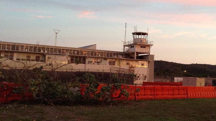 The Media Operation Center (MOC) is seen at a Camp Justice hangar on October 24, 2013, at the Guantanamo Naval Base in Guantanamo Bay, Cuba. (AFP Photo/Chantal Valery)