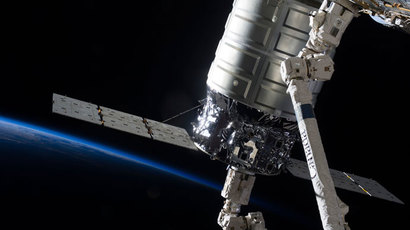 Attached to the Harmony node, the first Cygnus commercial cargo spacecraft built by Orbital Sciences Corp.(Reuters / NASA)