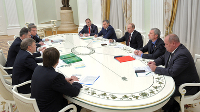 Russia's President Vladimir Putin (3-L) at the meeting with the leaders of non-parliamentary parties in the Kremlin (RIA Novosti / Aleksey Nikolskyi)