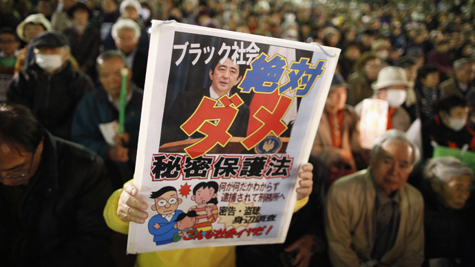 A protester holds a placard with a photo of Japan's Prime Minister Shinzo Abe, during a rally against the government's planned secrecy law in Tokyo November 21, 2013. (Reuters/Issei Kato)
