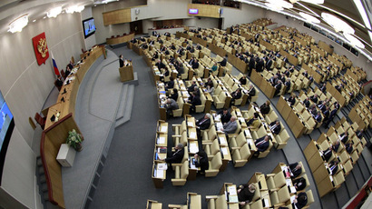 Deputies attend a session of the Duma, Russia's lower house of Parliament, in Moscow (Reuters/Sergei Karpukhin)