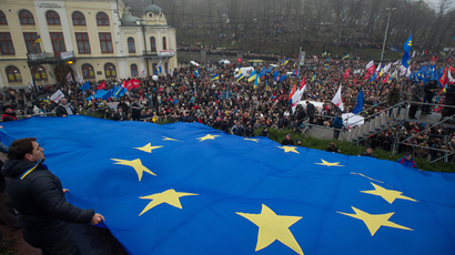People at a For a European Ukraine rally in support of signing an association agreement with the European Union on European Square in Kiev (RIA Novosti / Alexey Furman)
