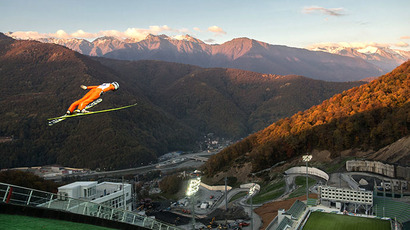 Athlete Aleksey Buivolov at a training session at the Russkiye Gorki Jumping Center in Sochi. (RIA Novosti / Mihail Mokrushin)