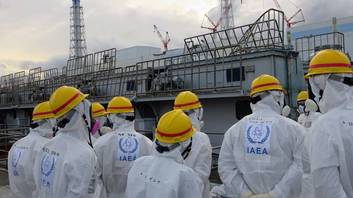 Mission members of the International Atomic Energy Agency (IAEA), led by Juan Carlos Lentijo, inspecting a spent fuel pool at the crippled Tokyo Electric Power CO. (TEPCO) Fukushima Dai-ichi nuclear power plant in the town of Okyma in Fukushima prefecture, From ImagesAttr