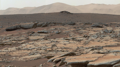 This mosaic of images from the Mast Camera (Mastcam) instrument on NASA's Curiosity Mars rover released December 9, 2013 shows a series of sedimentary deposits in the Glenelg area of Gale Crater (AFP Photo / NASA)