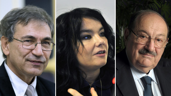 Turkish writer Orhan Pamuk (L), Icelandic singer Bjork (C), Italian writer Umberto Eco (R) (AFP Photo)