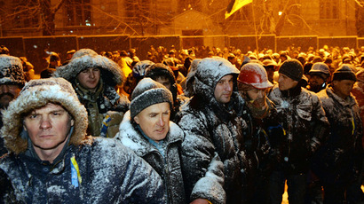 Tense night in Kiev as police clear part of protester-occupied territory