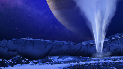 This is an artist's concept of a plume of water vapor thought to be ejected off the frigid, icy surface of the Jovian moon Europa, located about 500 million miles (800 million kilometers) from the sun  (Image by NASA / ESA / K)