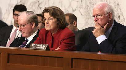 (FILES) Committee chairman Sen. Dianne Feinstein (D-CA) (C), ranking member Sen. Saxby Chambliss (R-GA) (R) and Sen. John Rockefeller (D-WV) (L) listen during a hearing before the Senate (Select) Intelligence Committee on Capitol Hill in Washington, DC.