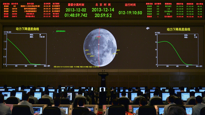 A giant electronic screen displays the mission operation information of China's Chang'e-3 lunar probe as researchers work at the Beijing Aerospace Control Center, in Beijing, December 14, 2013.  (уeuters / Stringer)