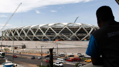 A worker observes the Arena Amazonia stadium under construction to host several 2014 World Cup games. (Reuters / Bruno Kelly)