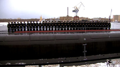 "The nuclear submarine ""Alexander Nevsky"".(Screenshot from Ruptly video)"